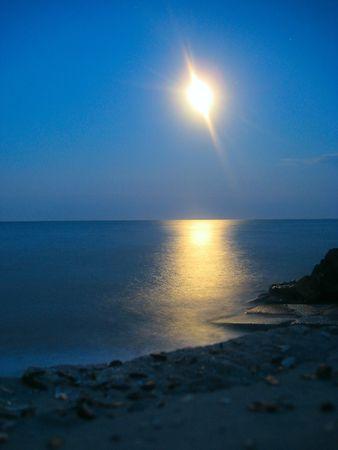 moon over the sea Stock Photo