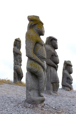 Ancient stone statue man; woman; men; thinker; wisdom; meditating; sculpture; Stock Photo - 5666829