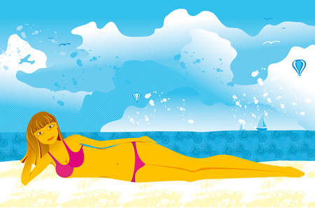 young woman on a beach by the sea Stock Vector - 5735458