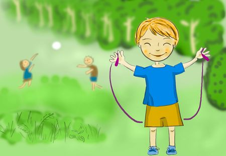 a smiling boy jumping with a jumping rope Stock Photo - 5740218