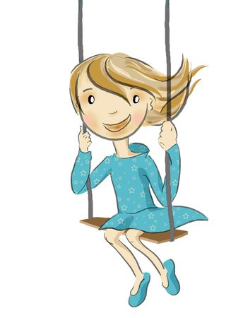 a happy girl going on the swing in summer Stock Photo - 5745910