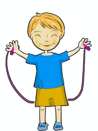 a happy boy jumping with a rope Stock Photo - 5748066