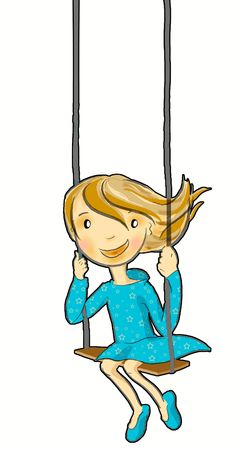 a happy girl going swing in summer Stock Photo - 5748065