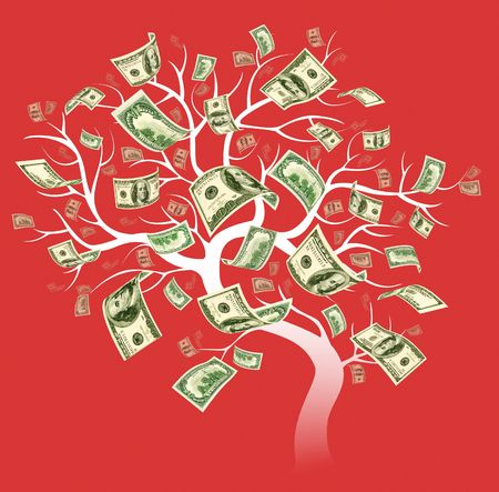 a big dollar tree on red background Stock Photo