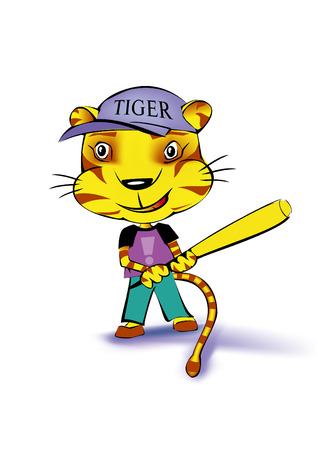 a tiger playing baseball on white background Illustration