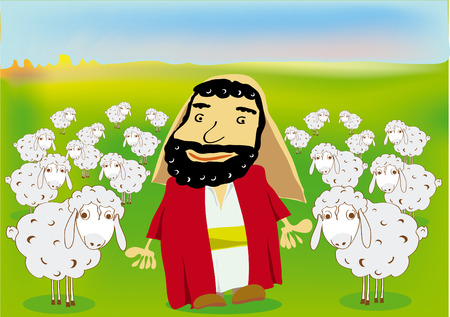 leading: a good shepherd and his flock of sheeps