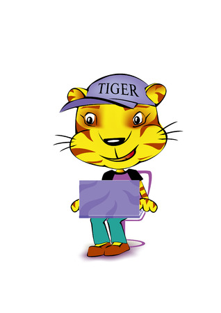 a smiling tiger with laptop working and sitting
