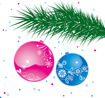 Blue and red christmas balls hanging on a tree Illustration