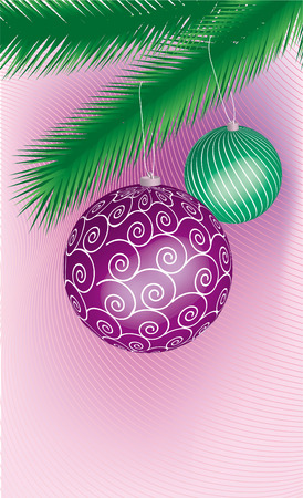 two colored cristmas ball hanging on a tree