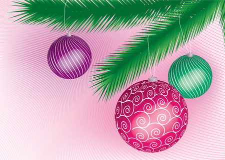 three colored cristmas ball hanging on a tree Illustration