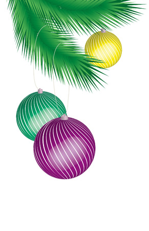 Three colored cristmas ball hanging on a tree