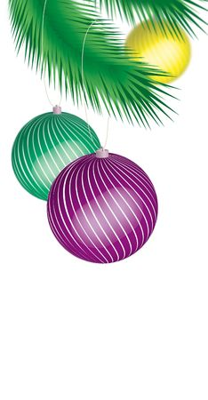Three colored cristmas ball hanging on a tree photo
