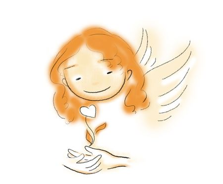 a smiling angel with a heart in her hands