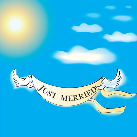 two flying birds with a banner in the sky