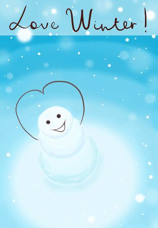 snowbank: smiling snowman with his hands shaped in love sign