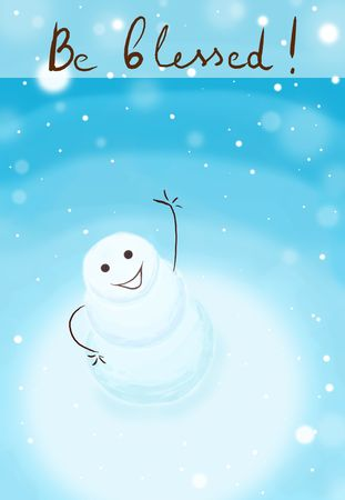 snowman looking up and blessing everybody on snowy day