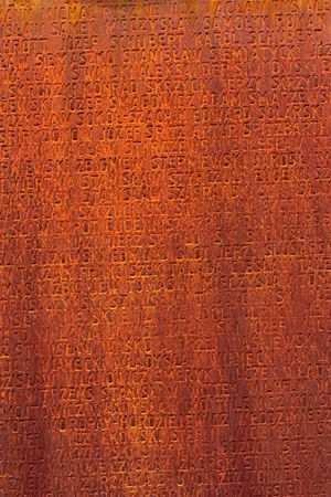 rusty metal texture with names of people