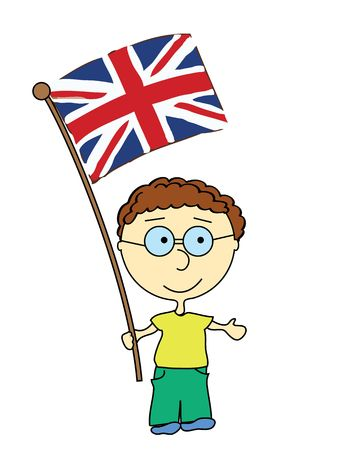 a smiling boy with flag of England