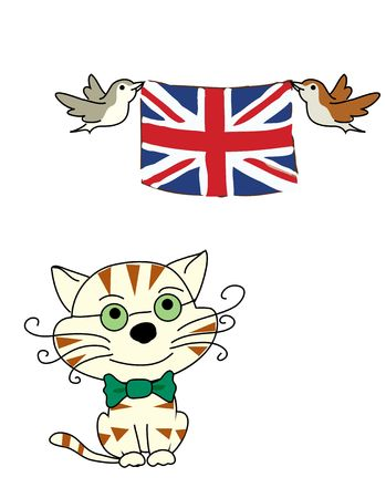 a smiling cat and birds with flag of England