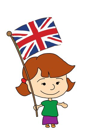 a smiling girl with flag of England Stock Photo