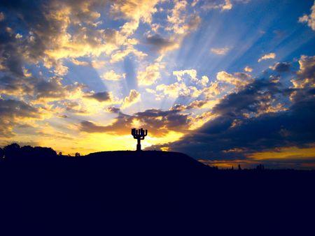 impressive sunset and  jewish memorable sign Stock Photo - 7309778