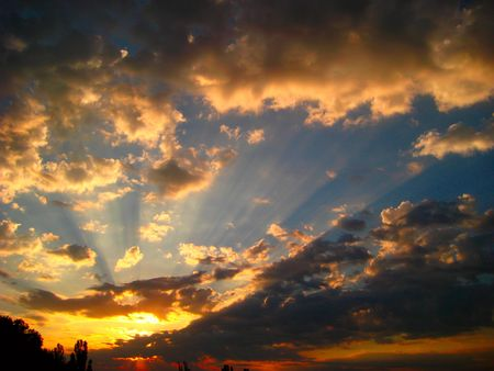 impressive fiery sunset and clouds in summer Stock Photo - 7309780