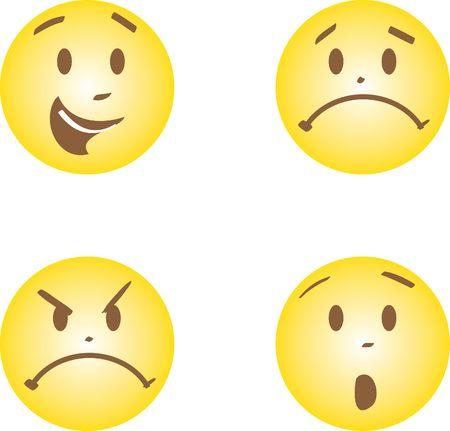 caras con feliz, ira, triste y susto emociones  Foto de archivo - 7534647
