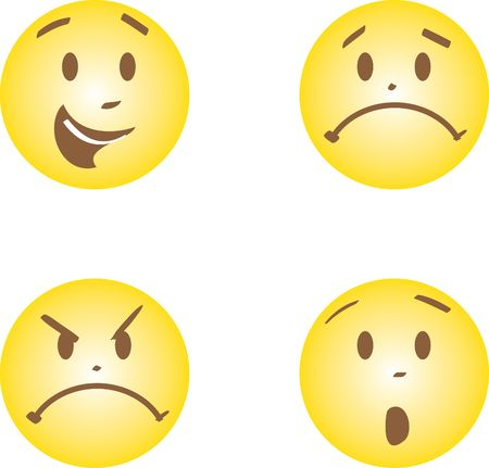faces with happy, anger, sad and fright emotions