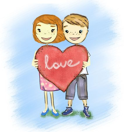 couple heureux holdong coeur signe
