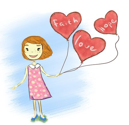 smiling girl holding love faith hope baloons Stock Photo