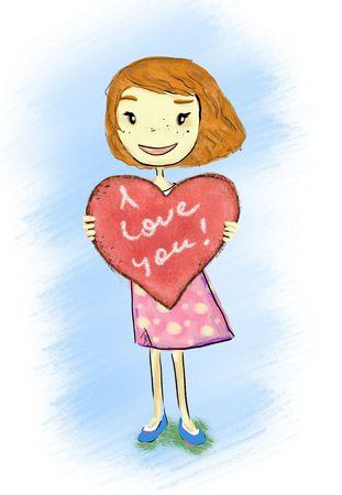 smiling girl holding heart I love you Stock Photo - 7757732
