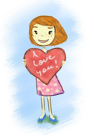 smiling girl holding heart I love you Stock Photo