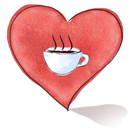 forme de coeur avec une tasse de café