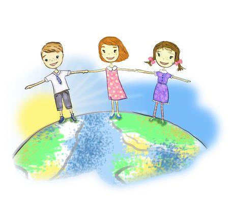 girls and boys holding hands in unity Stock Photo - 7757736