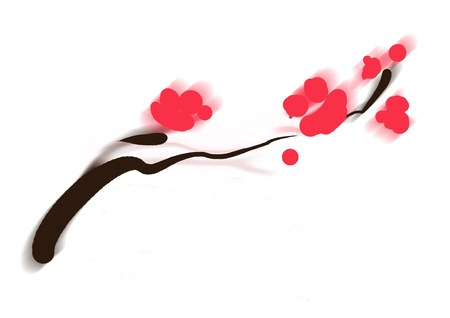 plum blossom: sumi-e of asian plum tree blossom minimal