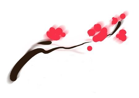 sumi-e of asian plum tree blossom minimal