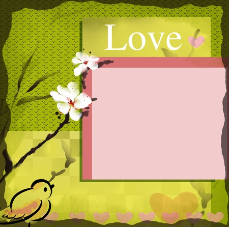 love wish card with blooming sumi-e watercolor photo