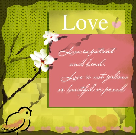 Love wishing card with blooming sumi-e watercolor Stock Photo - 8658904