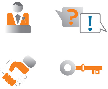 login about us question answer key icon set Illustration