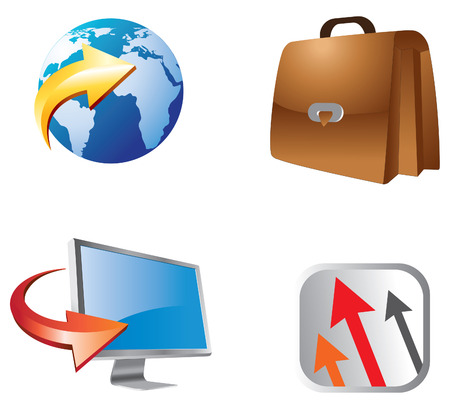 login home business icon set Stock Vector - 8658908