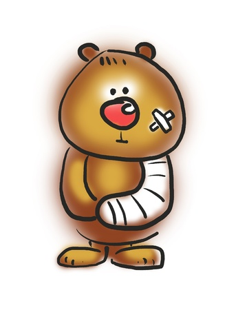 broken trust: sick bear with bandaged hand