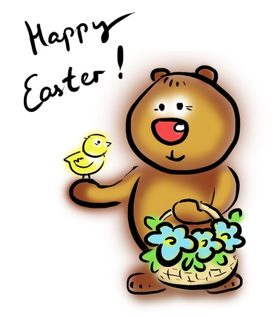 kind bear greeting chick with easter Stock Photo - 8715007