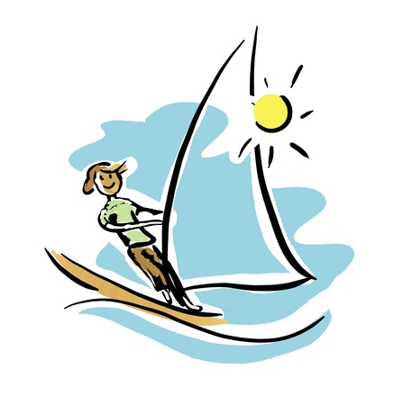 extreme windsurfing man in sunny day Stock Photo - 8715008