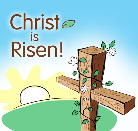 empty cross with sign Christ is risen Stock Photo