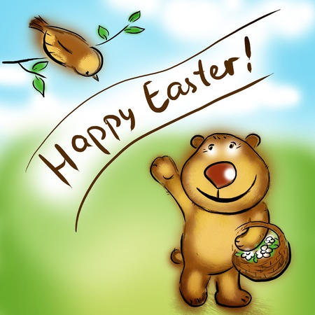 happy easter greeting bear and bird Stock Photo