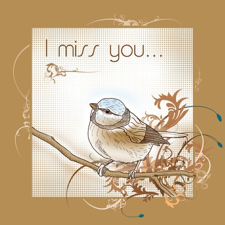 I miss you lonly bird card Stock Photo - 8814404