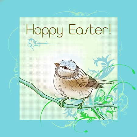 Happy easter bird greeting card Stock Photo