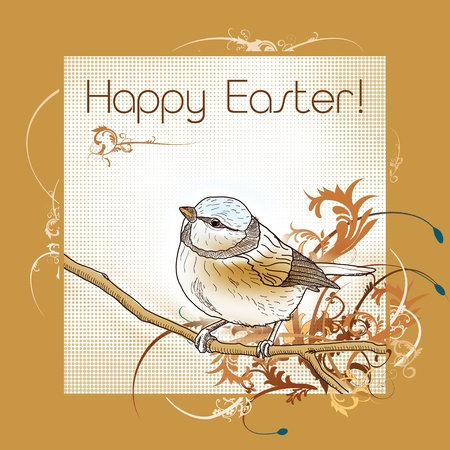 Happy easter bird greeting card Stock Photo - 8814405