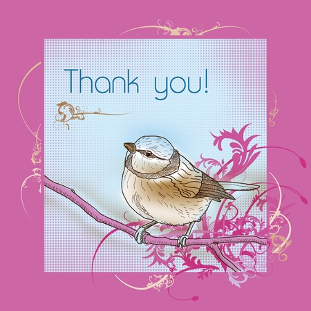 Thank you bird greeting card Stock Photo - 8814403
