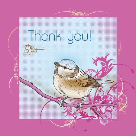 Thank you bird greeting card Stock Photo